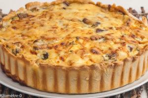 Photo de recette de tarte aux aubergines, cèpes, fromage, quiche de Kilomètre-0, blog de cuisine réalisée à partir de produits locaux et issus de circuits courts