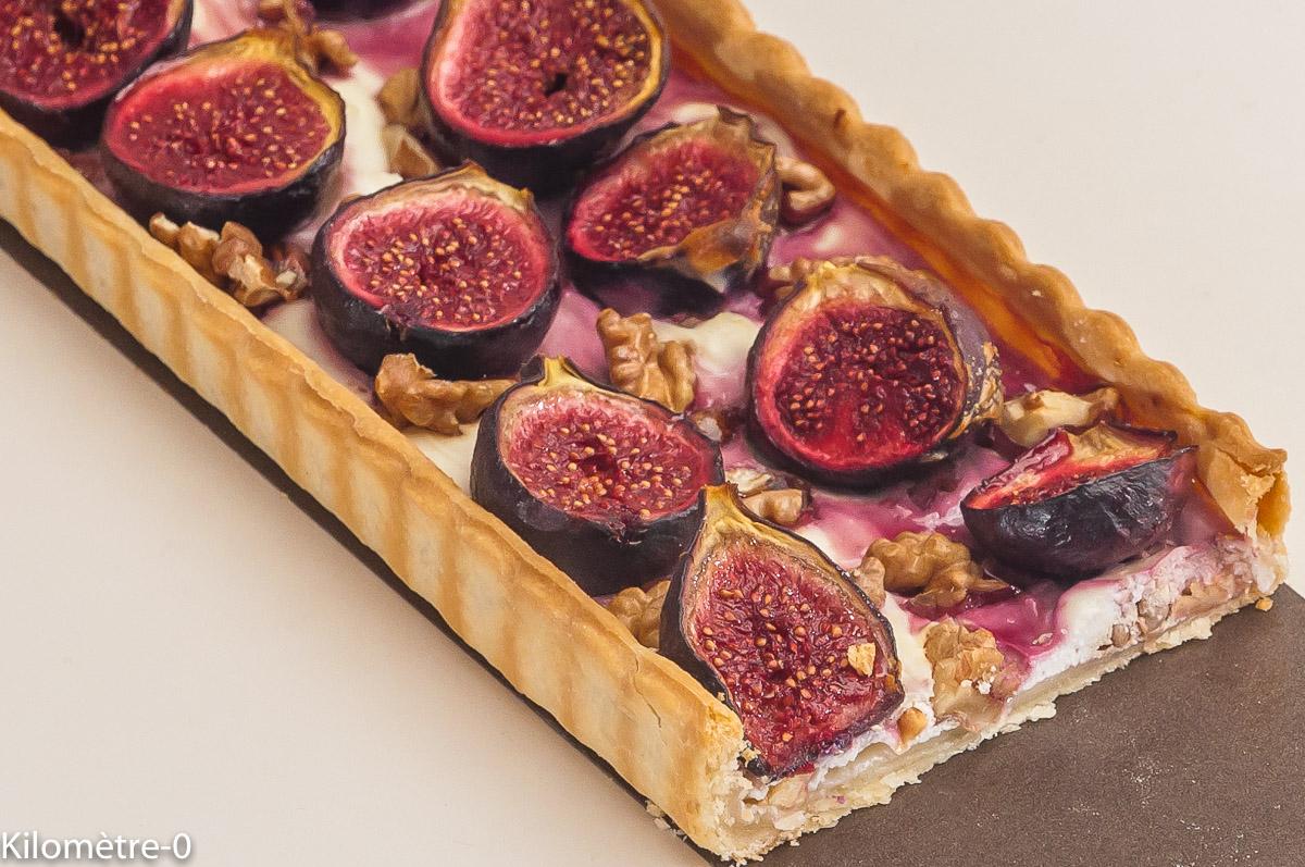 Photo de recette de tarte, figues, noix de  Kilomètre-0, blog de cuisine réalisée à partir de produits locaux et issus de circuits courts