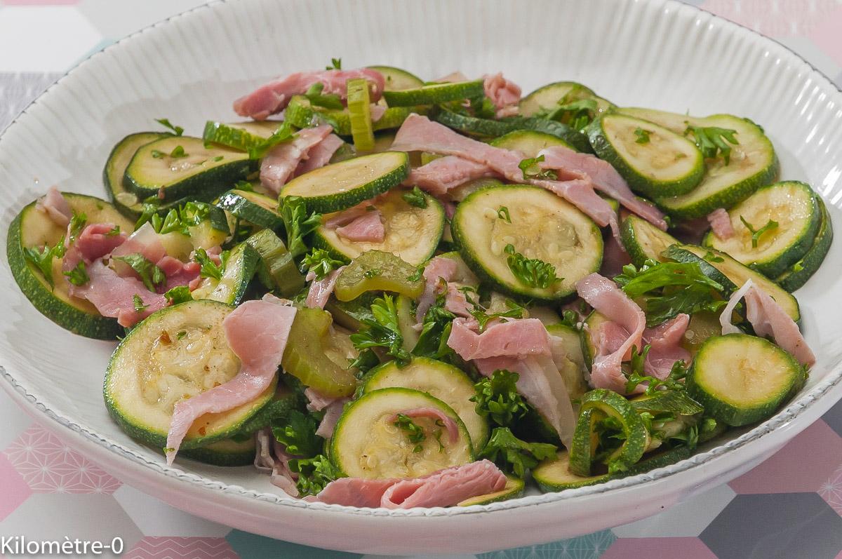 Photo de recette de salade courgettes, jambon, céleri, facile, four vapeur, bio de  Kilomètre-0, blog de cuisine réalisée à partir de produits locaux et issus de circuits courts