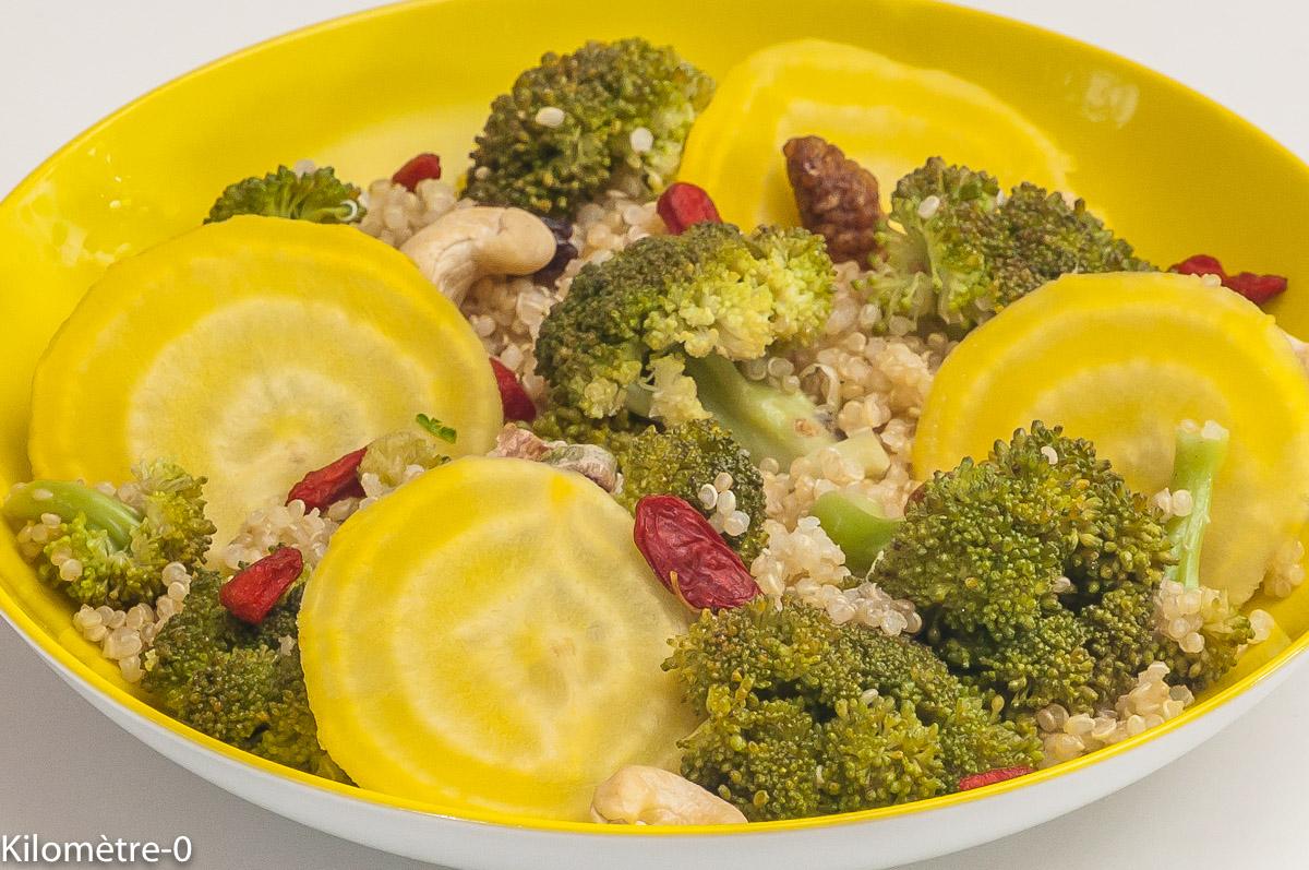 Photo de recette de salade de quinoa, brocolis, betterave jaune bio de Kilomètre-0, blog de cuisine réalisée à partir de produits locaux et issus de circuits courts
