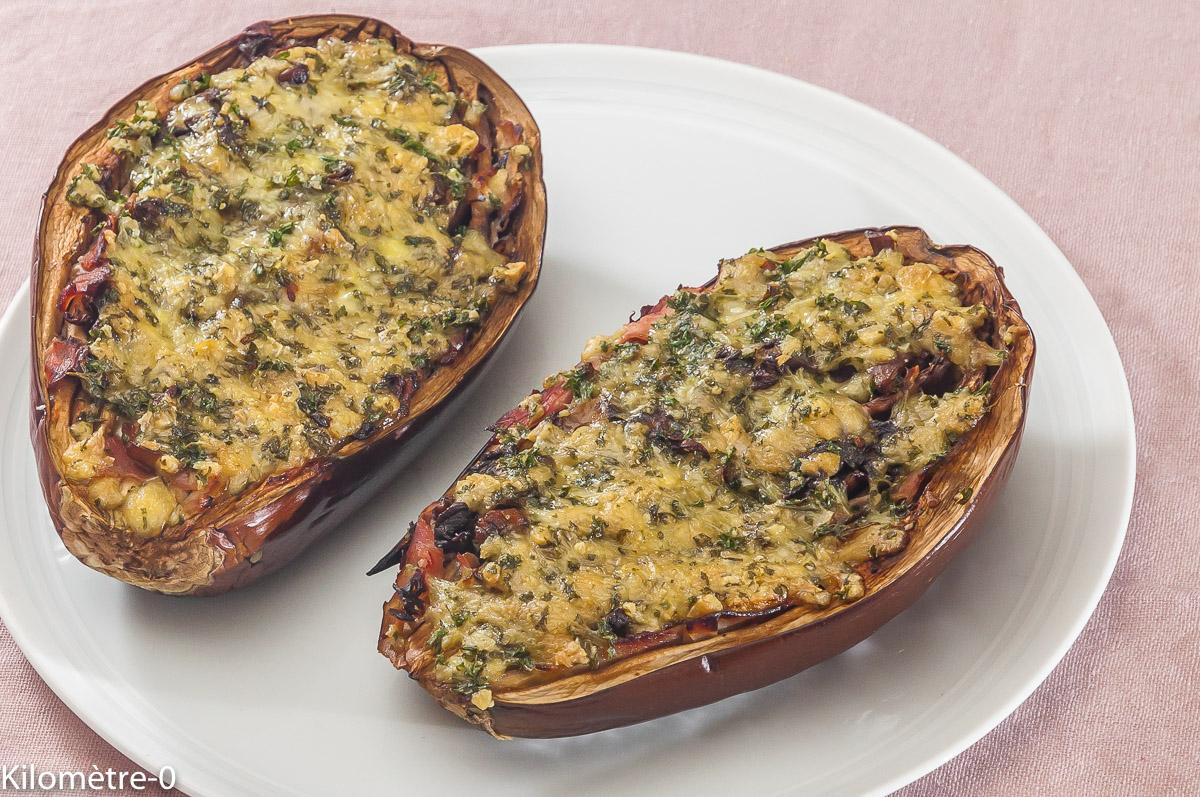 Photo de recette d'aubergines farcies bio de  Kilomètre-0, blog de cuisine réalisée à partir de produits locaux et issus de circuits courts