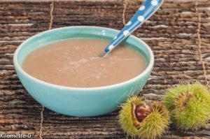 Photo de recette de soupe bio de châtaignes de  Kilomètre-0, blog de cuisine réalisée à partir de produits locaux et issus de circuits courts