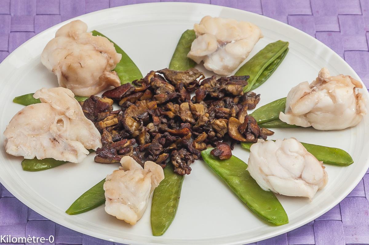 Photo de recette de lotte aux cèpes, haricots gourmands de Kilomètre-0, blog de cuisine réalisée à partir de produits locaux et issus de circuits courts