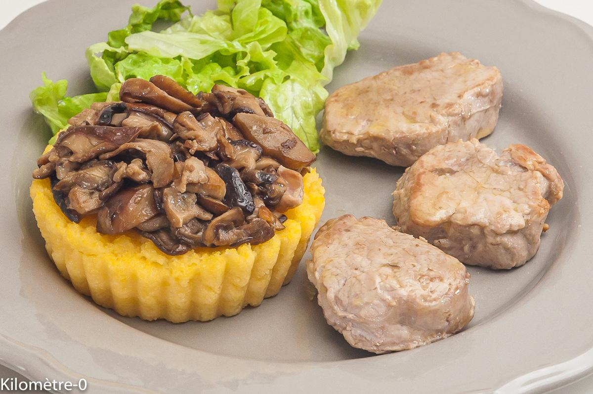 Photo de recette de filet mignon de porc, polenta, cèpes de Kilomètre-0, blog de cuisine réalisée à partir de produits locaux et issus de circuits courts