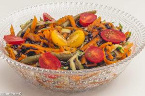Photo de recette de salade de riz noir, courgettes, carottes, haricots verts, bio de Kilomètre-0, blog de cuisine réalisée à partir de produits locaux et issus de circuits courts