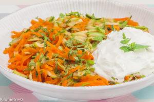 Photo de recette de recette turque, salade, carottes, courgettes, bio, végétarien de Kilomètre-0, blog de cuisine réalisée à partir de produits locaux et issus de circuits courts