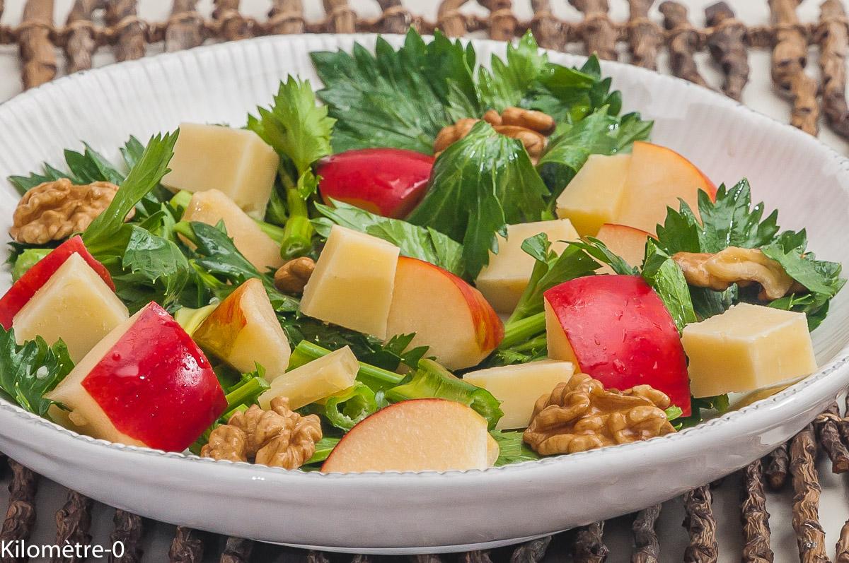 Photo de recette de  salade, céleri, cantal, noix, pomme de Kilomètre-0, blog de cuisine réalisée à partir de produits locaux et issus de circuits courts