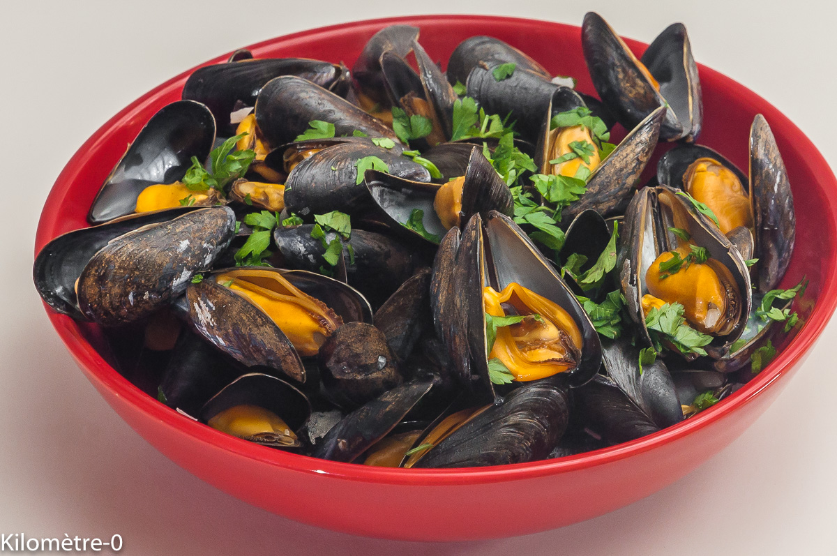 Photo de recette de moules au cidre de Kilomètre-0, blog de cuisine réalisée à partir de produits locaux et issus de circuits courts