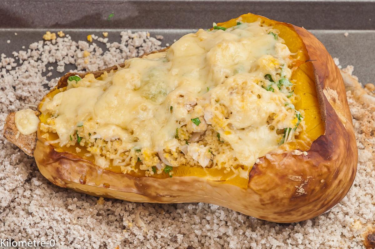 Photo de recette de butternut, semoule, fromage, farci, poulet de Kilomètre-0, blog de cuisine réalisée à partir de produits locaux et issus de circuits courts