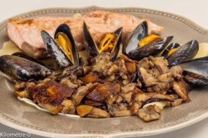 Photo de recette de saumon, moules, ravioles, lasagnes, cèpes, de Kilomètre-0, blog de cuisine réalisée à partir de produits locaux et issus de circuits courts