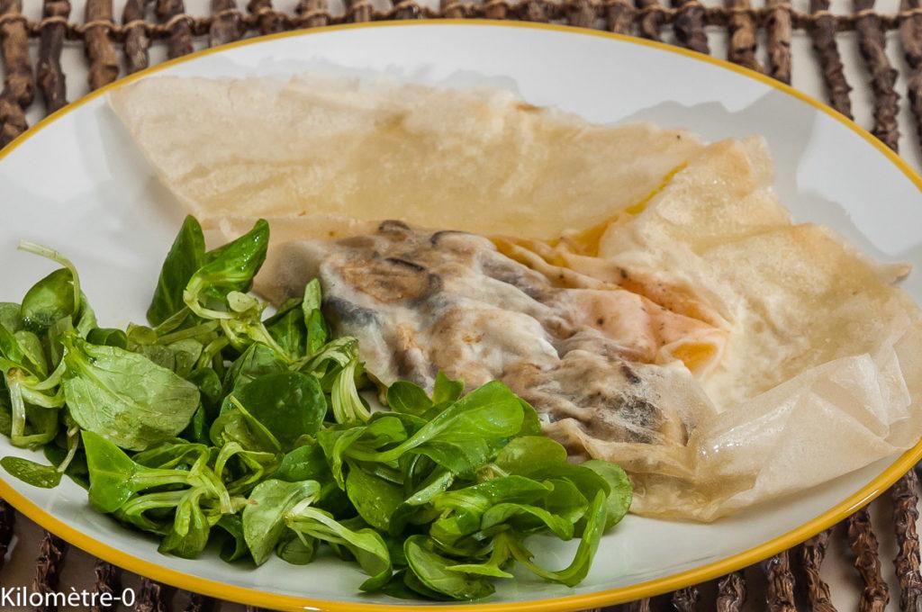 Photo de recette de brik, brick, coulemelle, champignons, oeuf de Kilomètre-0, blog de cuisine réalisée à partir de produits locaux et issus de circuits courts