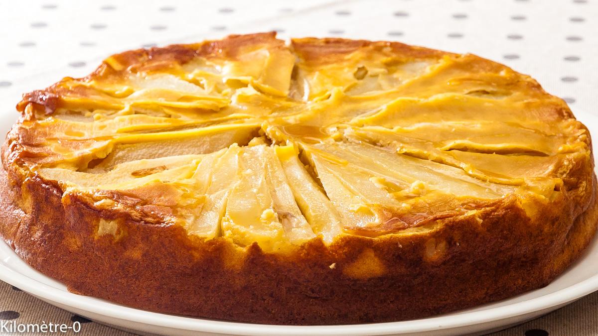 Photo de recette de fondant aux poires et lait concentré de Kilomètre-0, blog de cuisine réalisée à partir de produits locaux et issus de circuits courts