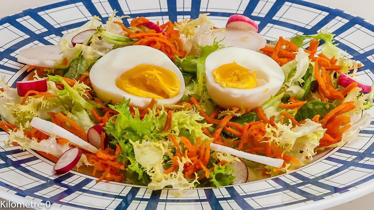 Photo de recette de salade, oeufs, carotte, radis noir, radis, bio, facile, rapide de Kilomètre-0, blog de cuisine réalisée à partir de produits locaux et issus de circuits courts