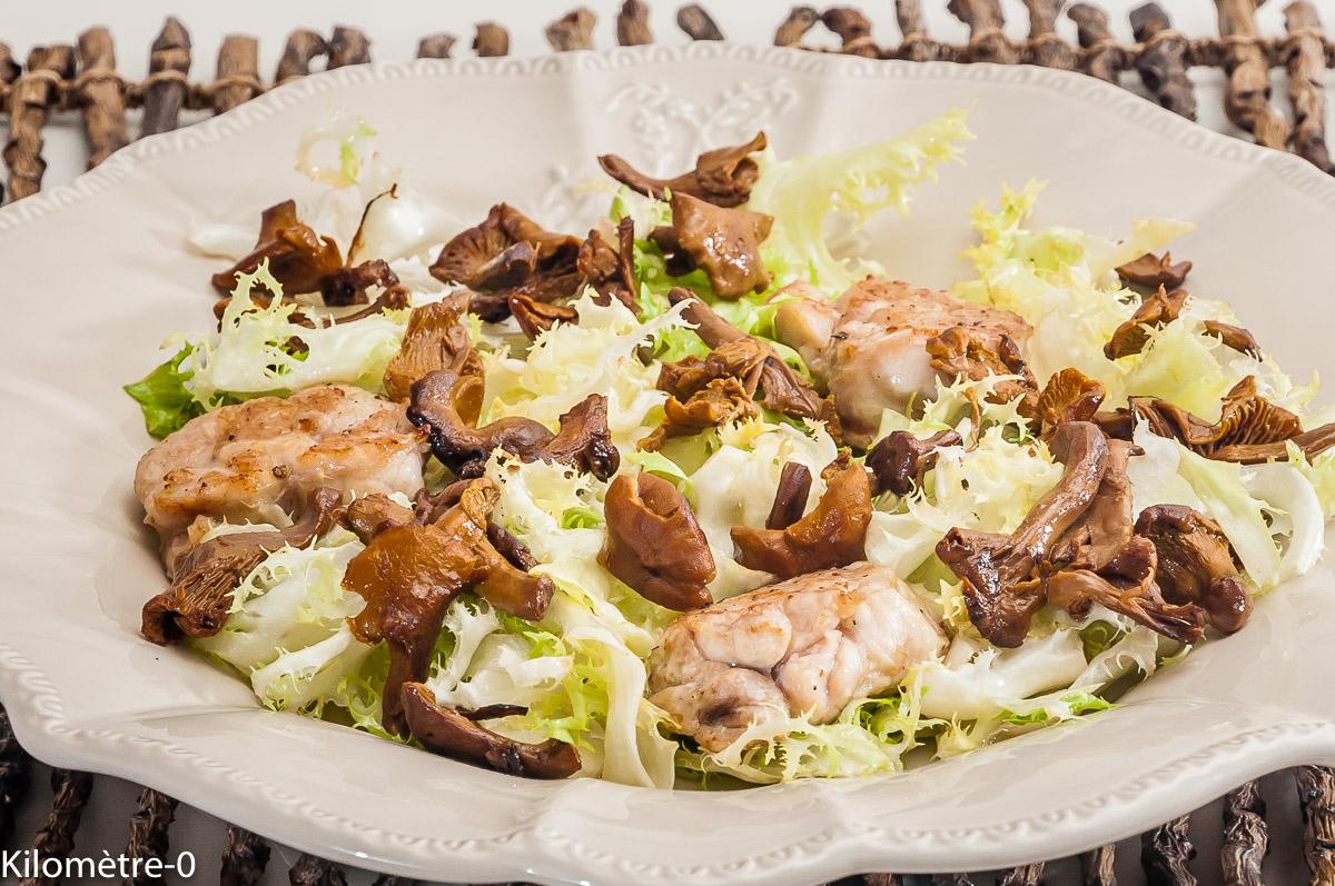 Photo de recette de salade, ris de veau, girolles de Kilomètre-0, blog de cuisine réalisée à partir de produits locaux et issus de circuits courts