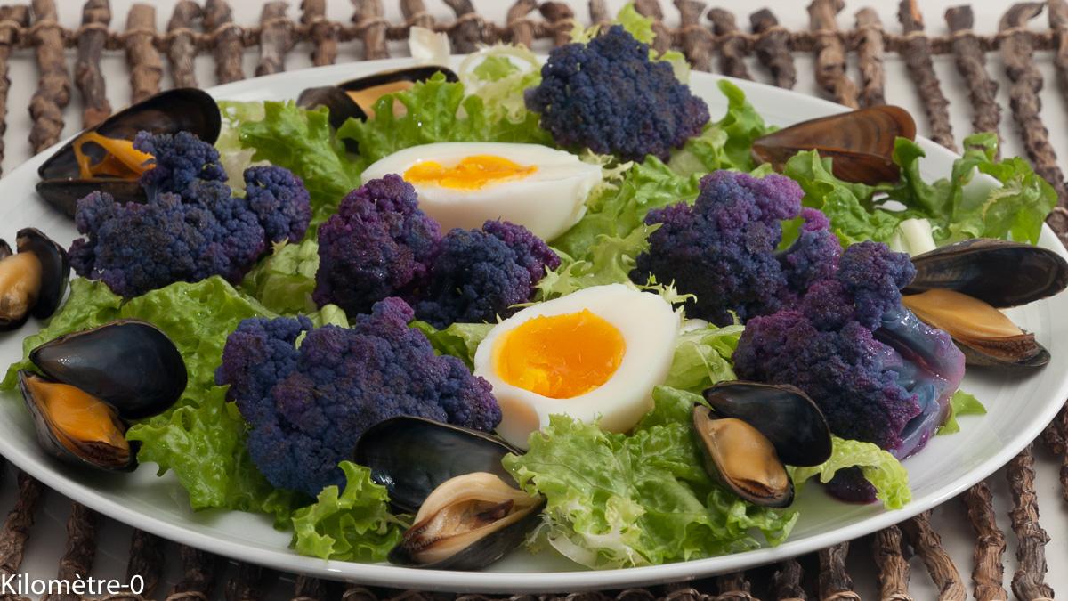 Photo de recette de salade, oeuf, chou fleur, moules de Kilomètre-0, blog de cuisine réalisée à partir de produits locaux et issus de circuits courts