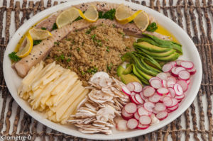 Photo de recette de  buddha bowl, Anjou, recette angevine, quinoa, radis, brochet de Kilomètre-0, blog de cuisine réalisée à partir de produits locaux et issus de circuits courts