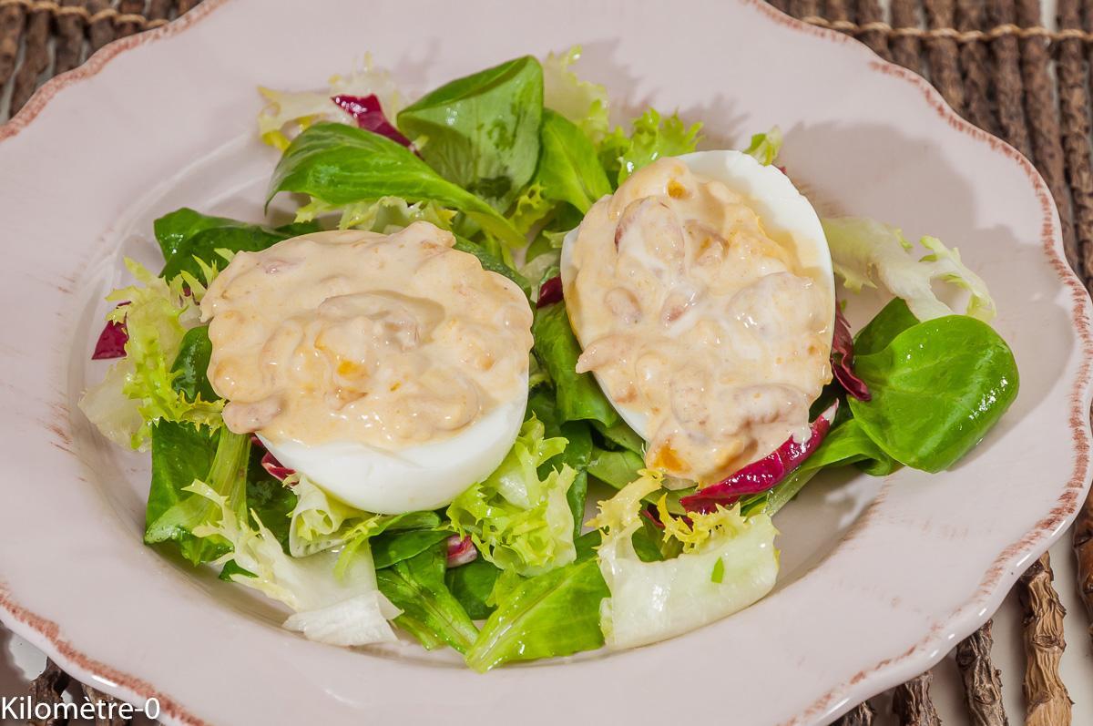 Photo de recette d'oeufs, crevettes de  Kilomètre-0, blog de cuisine réalisée à partir de produits locaux et issus de circuits courts