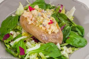Photo de recette de pommes de terre au four, crevettes, légères, bio de Kilomètre-0, blog de cuisine réalisée à partir de produits locaux et issus de circuits courts