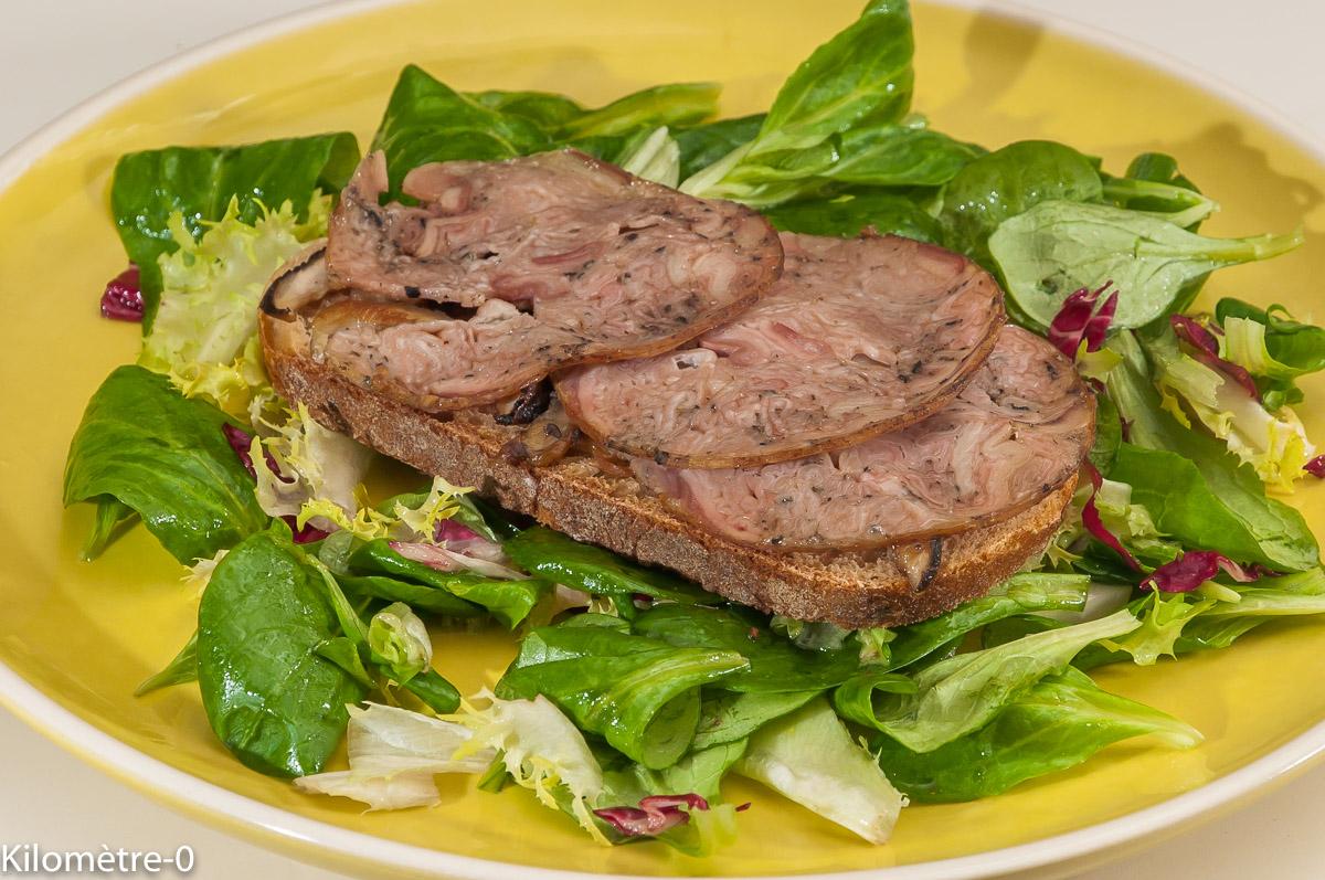 Photo de recette de tartine andouille, coulemelles, salade de Kilomètre-0, blog de cuisine réalisée à partir de produits locaux et issus de circuits courts