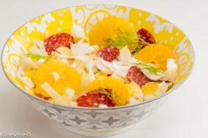 Photo de recette de salade endives, chorizo, oranges, bio de Kilomètre-0, blog de cuisine réalisée à partir de produits locaux et issus de circuits courts