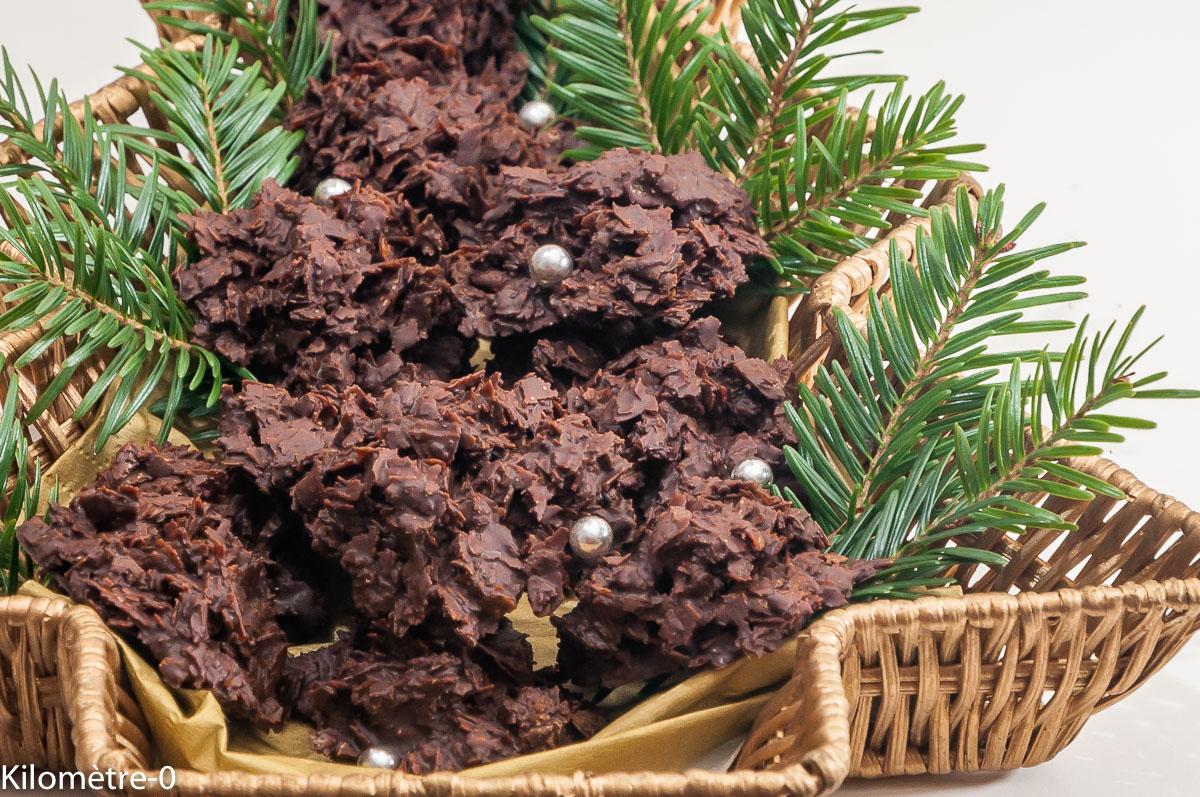 Photo de recette de roses des sables, Noël, chocolat maison, gavottes de Kilomètre-0, blog de cuisine réalisée à partir de produits locaux et issus de circuits courts