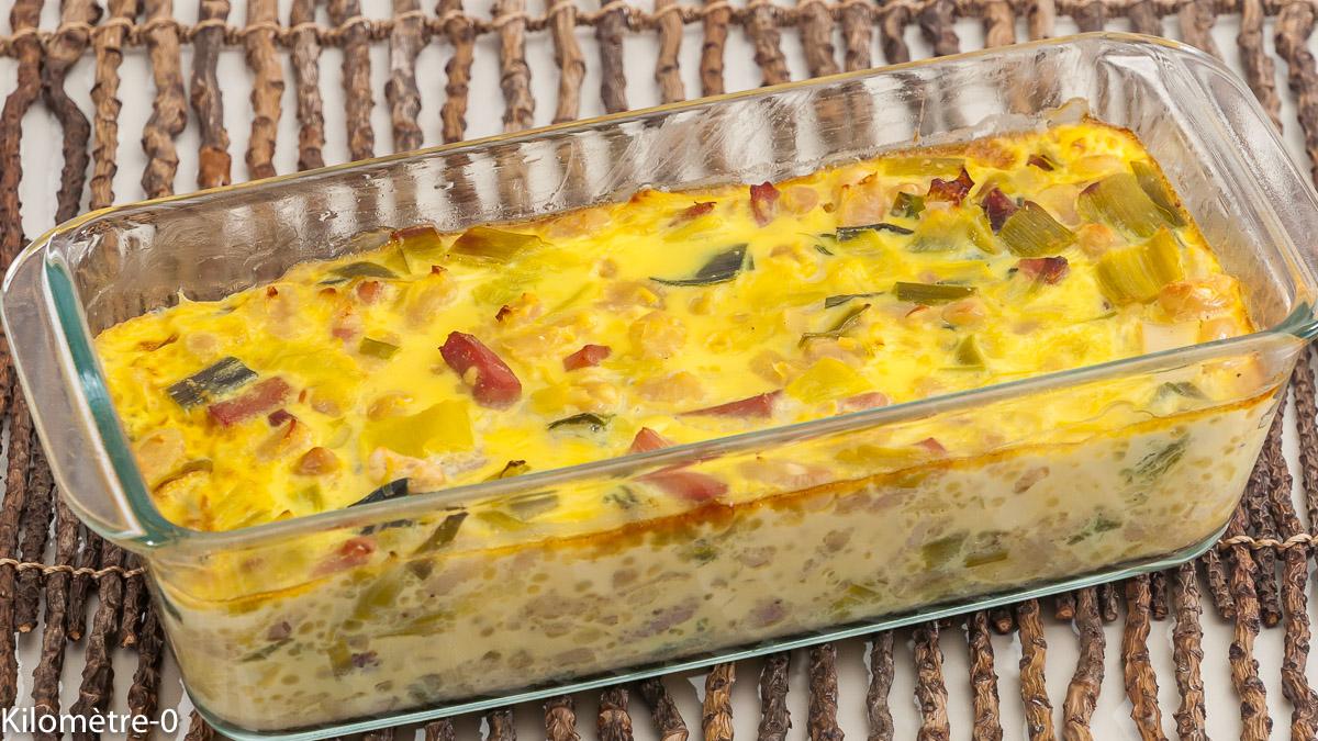 Photo de recette de gratin, haricots blancs, poireaux, oeufs, jambon de Kilomètre-0, blog de cuisine réalisée à partir de produits locaux et issus de circuits courts