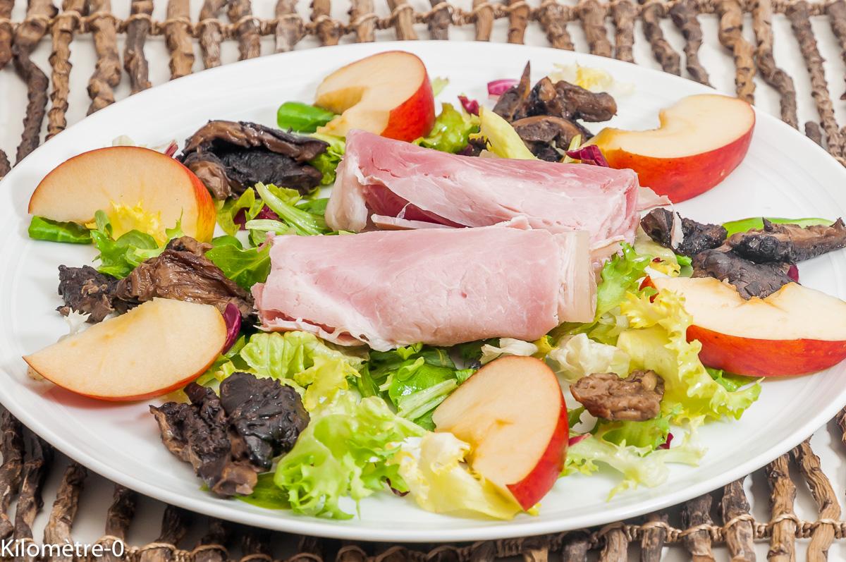 Photo de recette de salade, coulemelles, champignon, pomme, jambon, lépiote de Kilomètre-0, blog de cuisine réalisée à partir de produits locaux et issus de circuits courts