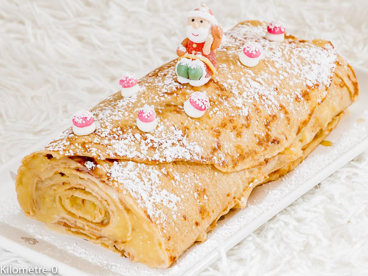 Photo de recette de bûche, crêpes, pommes, caramel, Noël, de Kilomètre-0, blog de cuisine réalisée à partir de produits locaux et issus de circuits courts