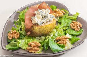 Photo de recette de poire farcie, jambon, fourme d'ambert, nix, salade, facile Kilomètre-0, blog de cuisine réalisée à partir de produits locaux et issus de circuits courts