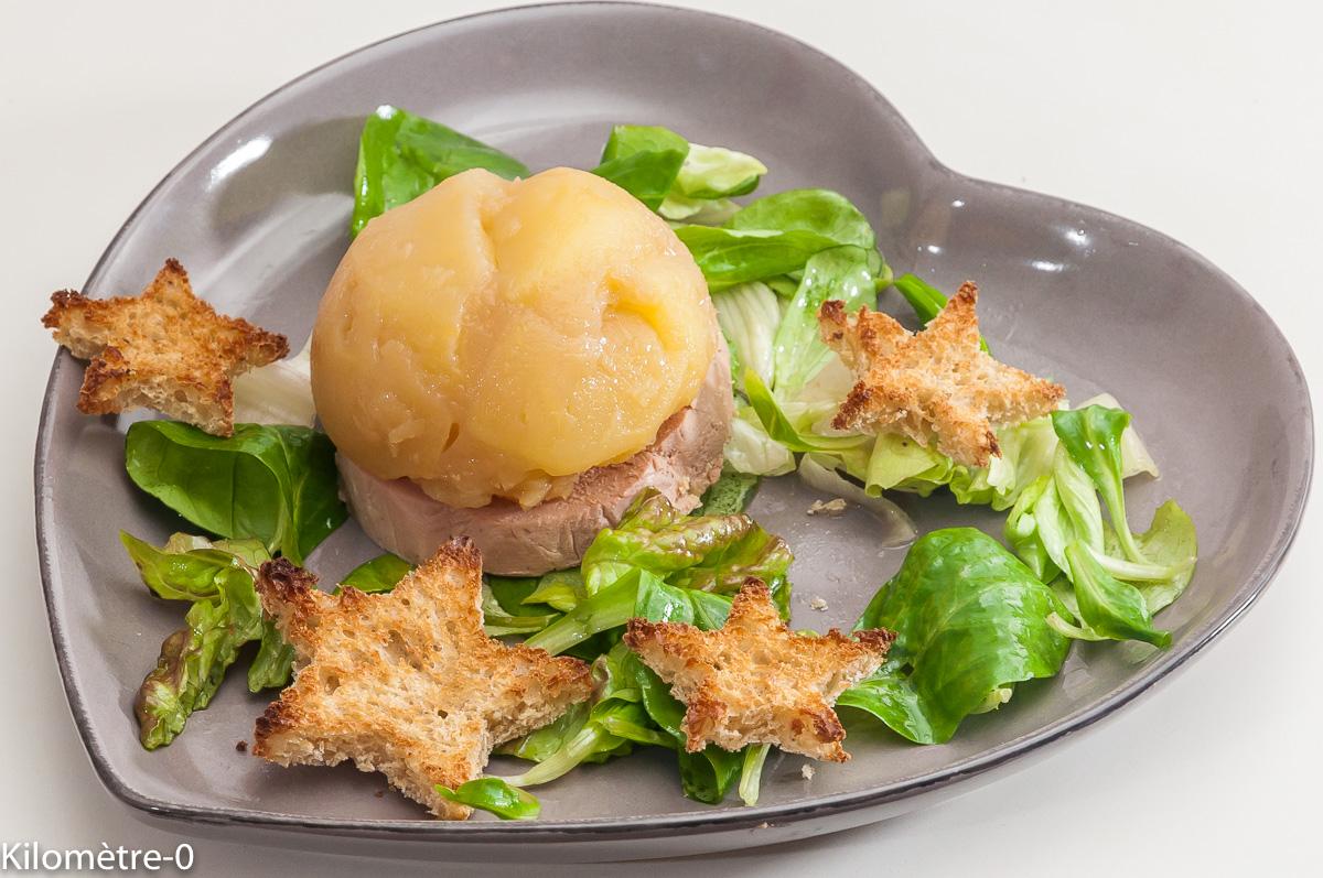 Photo de recette de foie gras, dôme, pomme , pain d'épices de Kilomètre-0, blog de cuisine réalisée à partir de produits locaux et issus de circuits courts