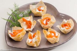 Photo de recette de bouchées, saumon, apéro facile de Kilomètre-0, blog de cuisine réalisée à partir de produits locaux et issus de circuits courts