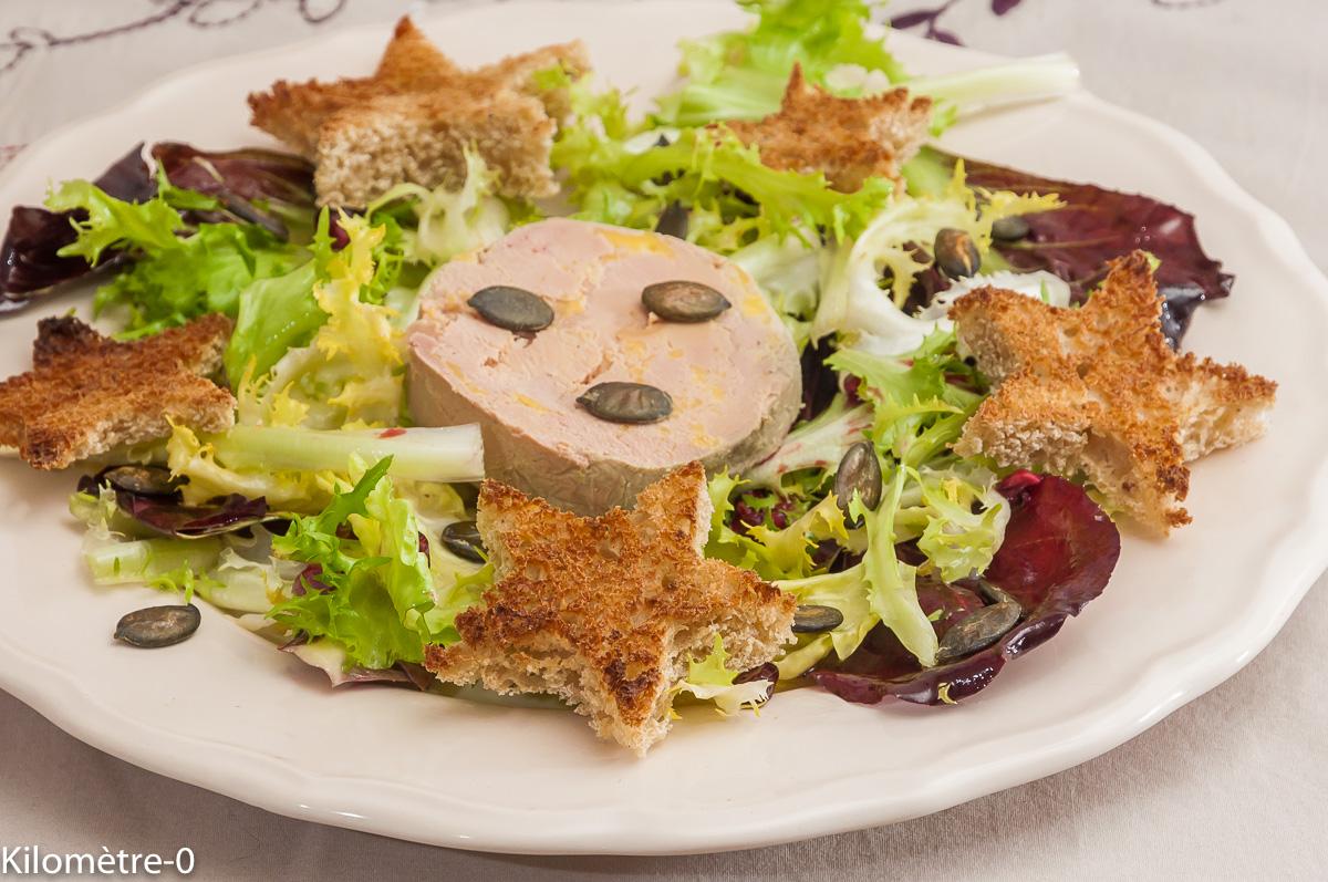 Photo de recette de salade de foie gras de Kilomètre-0, blog de cuisine réalisée à partir de produits locaux et issus de circuits courts