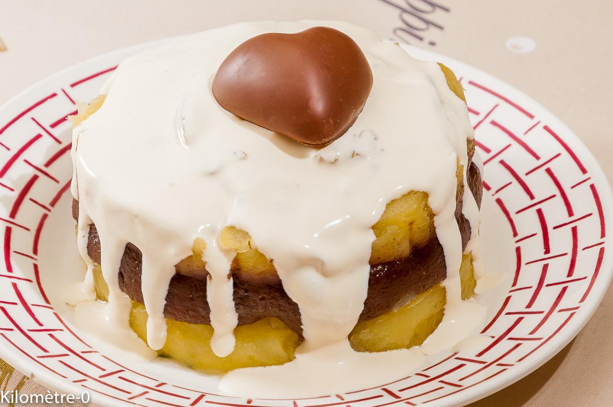 Photo de recette de pavés de pomme, crème de marrons, crème, rhum de Kilomètre-0, blog de cuisine réalisée à partir de produits locaux et issus de circuits courts