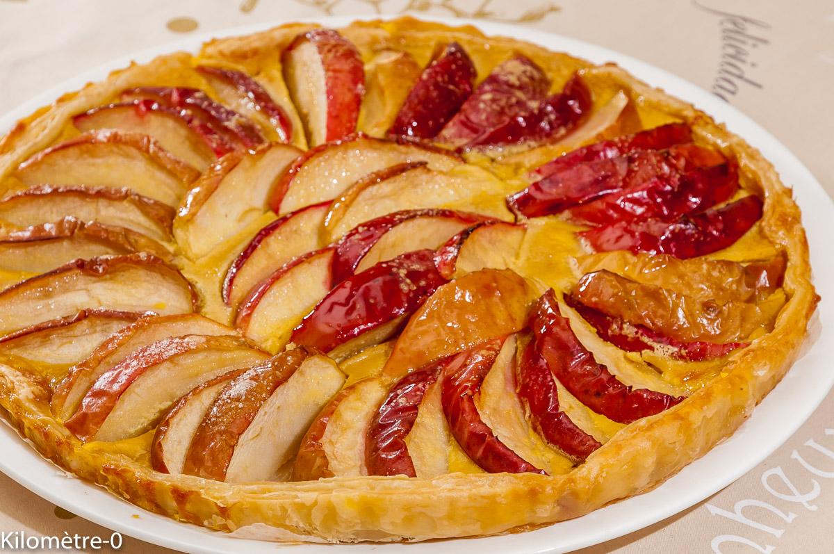 Photo de recette de tarte aux normandes, pommes de Kilomètre-0, blog de cuisine réalisée à partir de produits locaux et issus de circuits courts