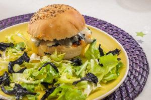 Photo de recette de  burger, patates douces, champignons, fromage de Kilomètre-0, blog de cuisine réalisée à partir de produits locaux et issus de circuits courts