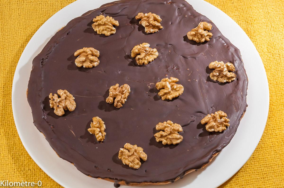 Photo de recette de tarte chocolat, noix de Kilomètre-0, blog de cuisine réalisée à partir de produits locaux et issus de circuits courts