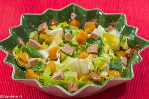 Photo de recette de salade foie gras, mangue, salade de Kilomètre-0, blog de cuisine réalisée à partir de produits locaux et issus de circuits courts