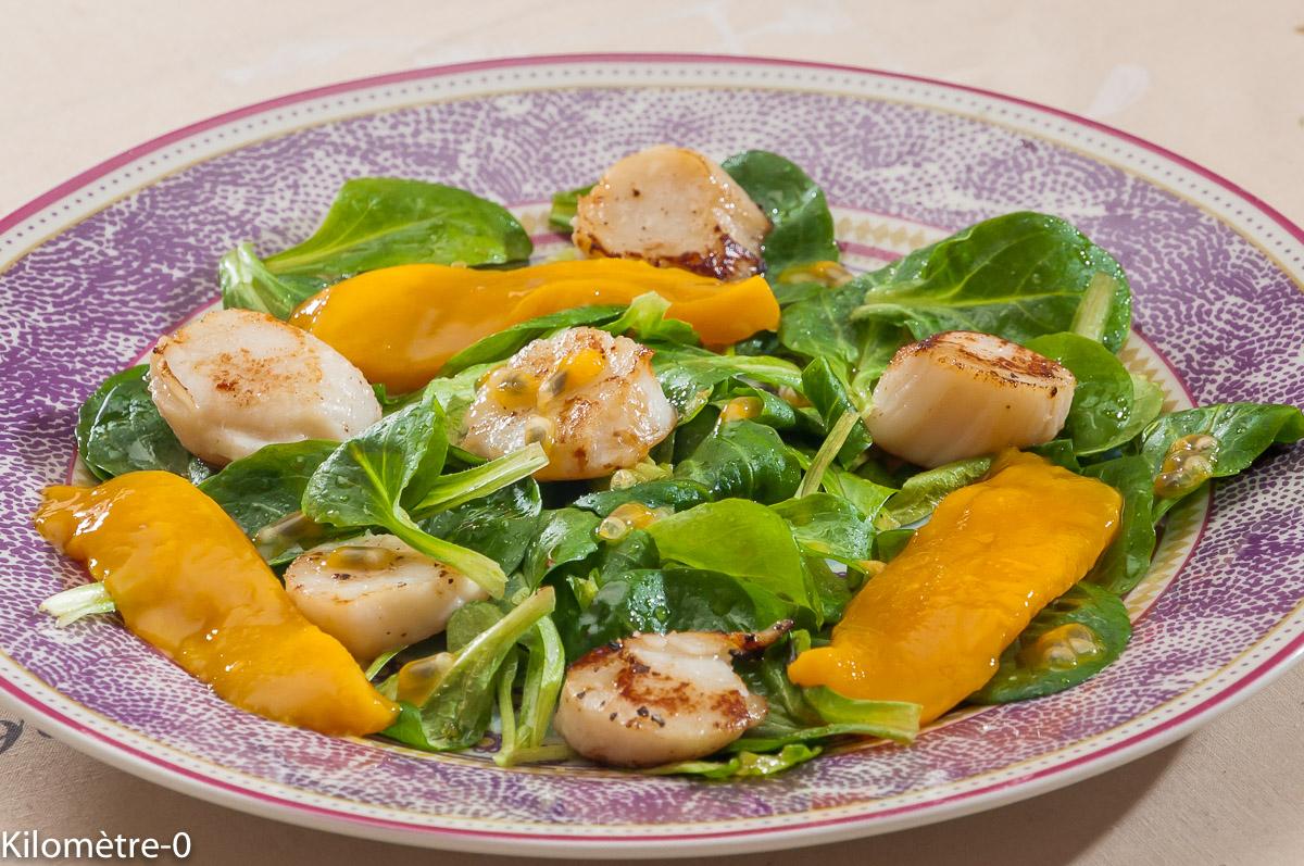 Photo de recette de salade, saint jacques, mangue de Kilomètre-0, blog de cuisine réalisée à partir de produits locaux et issus de circuits courts