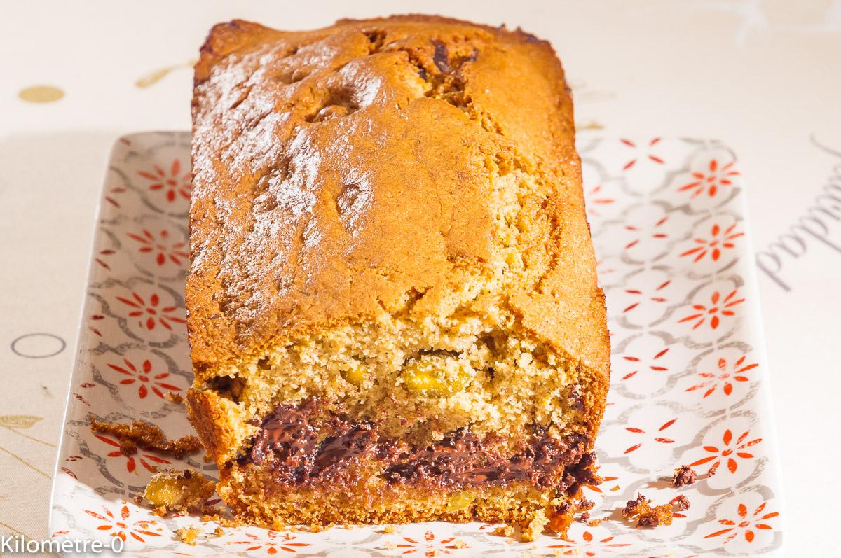 Photo de recette de cake chocolat pistaches de  Kilomètre-0, blog de cuisine réalisée à partir de produits locaux et issus de circuits courts