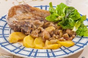 Photo de recette de côtes de porc, châtaignes, pommes de  Kilomètre-0, blog de cuisine réalisée à partir de produits locaux et issus de circuits courts