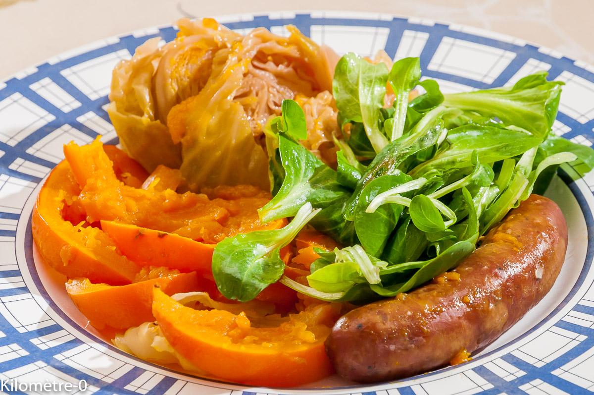 Photo de recette de saucisse au chou et potimarron de Kilomètre-0, blog de cuisine réalisée à partir de produits locaux et issus de circuits courts