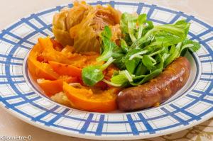 Photo de recette de saucisse au chou, potimarron de Kilomètre-0, blog de cuisine réalisée à partir de produits locaux et issus de circuits courts