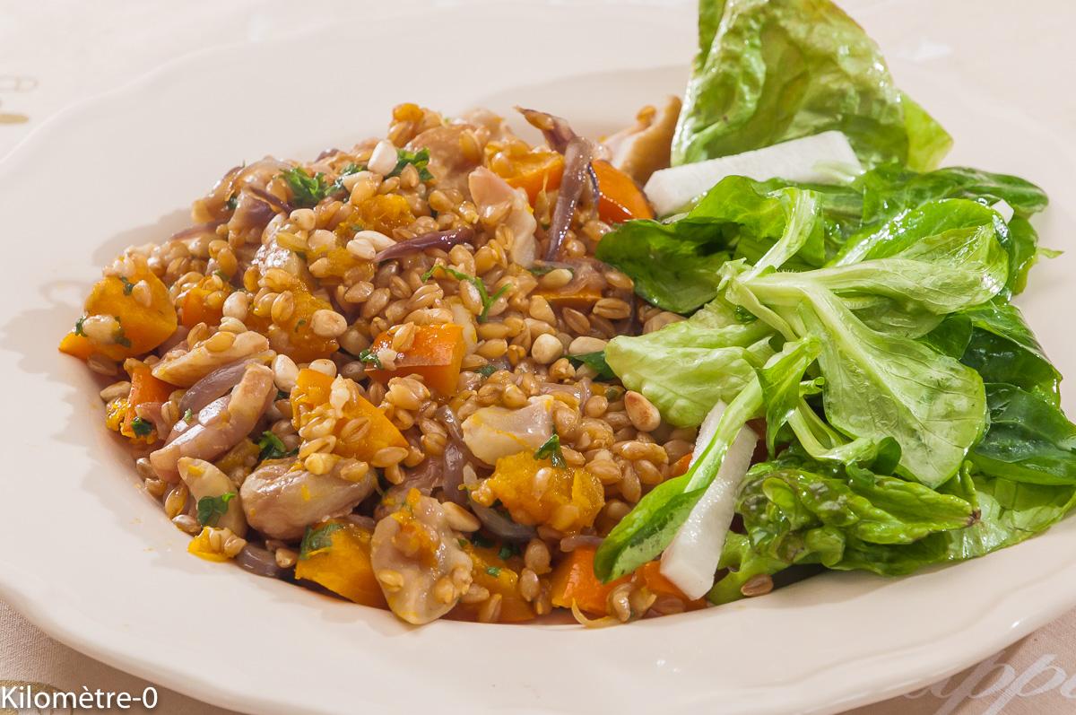 Photo de recette de petit épeautre aux légumes, potimarron, châtaignes, bio, facile de  Kilomètre-0, blog de cuisine réalisée à partir de produits locaux et issus de circuits courts
