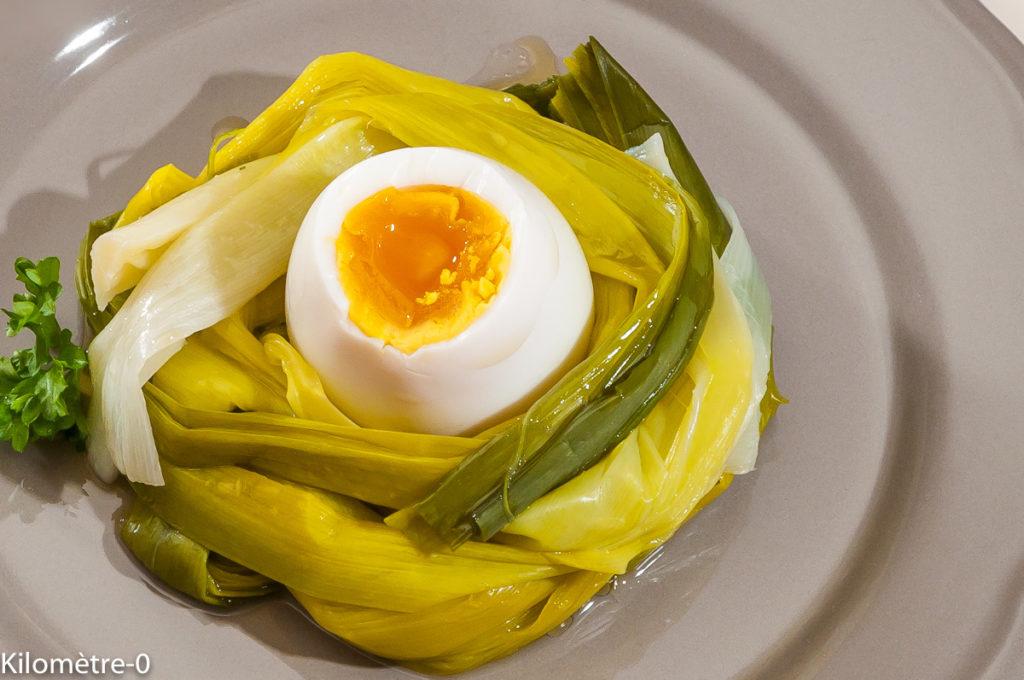 Photo de recette de nid de poireau, oeuf mollet, bio, légère de Kilomètre-0, blog de cuisine réalisée à partir de produits locaux et issus de circuits courts