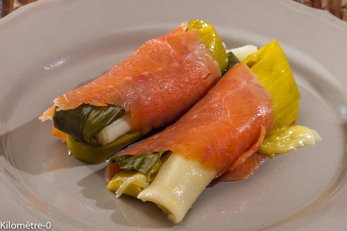 Photo de recette de poireau vinaigrette, salade, truite, saumon fumé de  Kilomètre-0, blog de cuisine réalisée à partir de produits locaux et issus de circuits courts