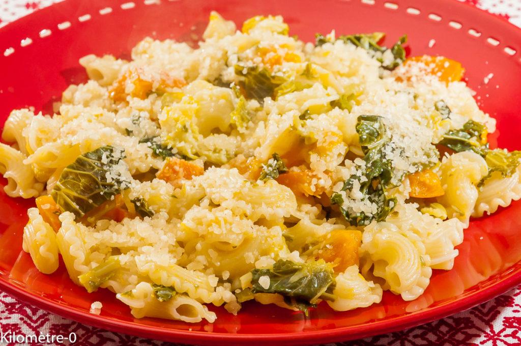Photo de recette de pâtes, chou, potimarron, fromage, parmesan,  Kilomètre-0, blog de cuisine réalisée à partir de produits locaux et issus de circuits courts