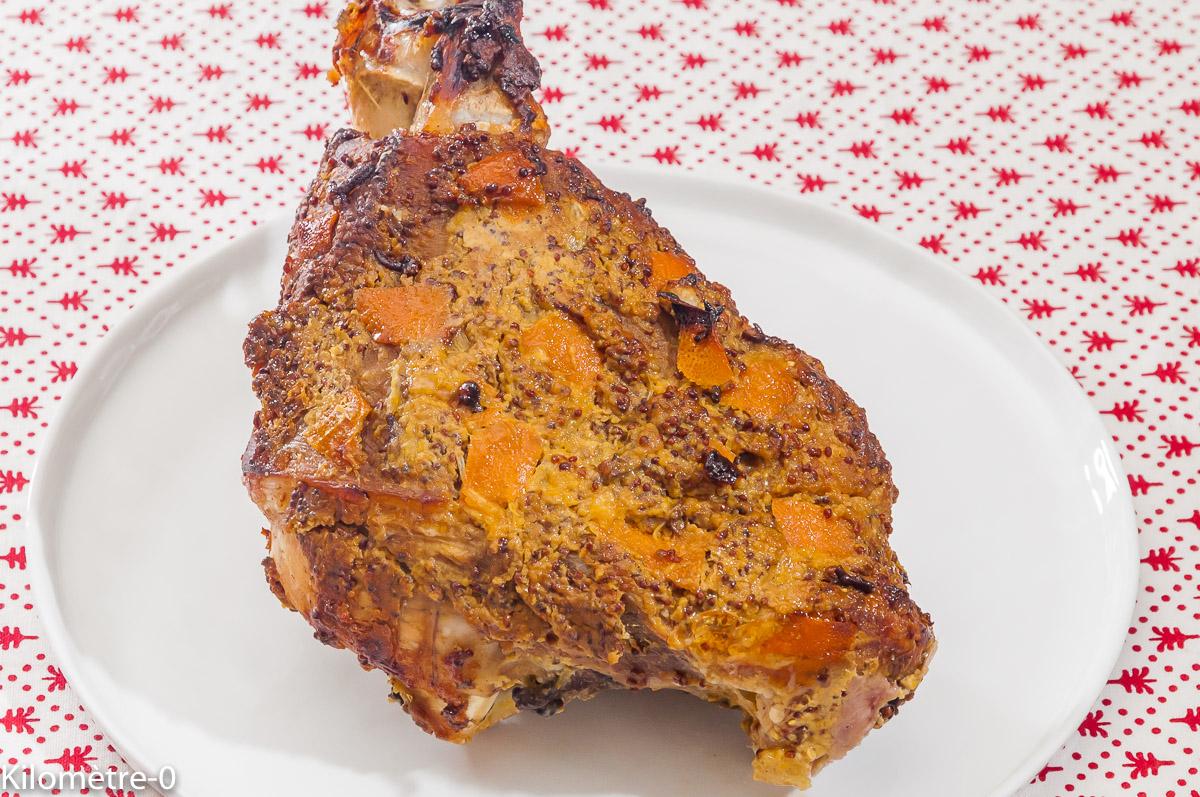 Photo de recette de jarret, orange, jambon de Noël, moutarde, clous de girofle de Kilomètre-0, blog de cuisine réalisée à partir de produits locaux et issus de circuits courts