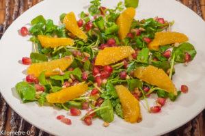 Photo de recette de salade, cresson, orange, grenade de Kilomètre-0, blog de cuisine réalisée à partir de produits locaux et issus de circuits courts