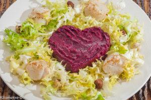 Photo de recette de salade, noix, saint jacques, betteraves de  Kilomètre-0, blog de cuisine réalisée à partir de produits locaux et issus de circuits courts