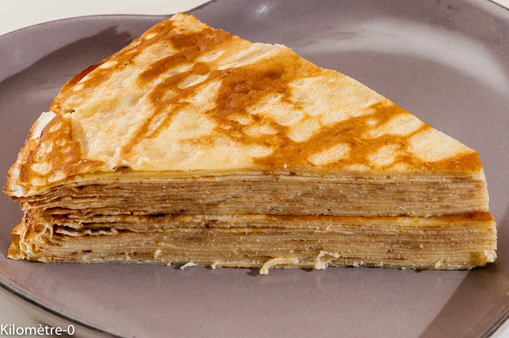 Photo de recette de gâteau de crêpes de Kilomètre-0, blog de cuisine réalisée à partir de produits locaux et issus de circuits courts